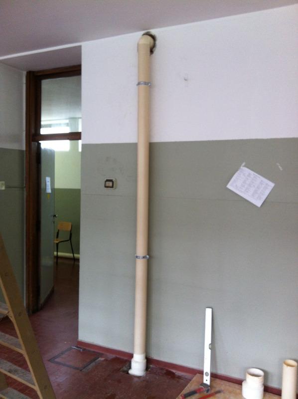 Lissone: realizzazione colonna depressurizzazione Radon, interrato 500mq presso edificio scolastico